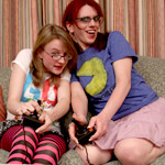 "She s playing with my joystick.  It's ""game night"" at Wendy's house and your favorite geeky gamer is ready to play!"
